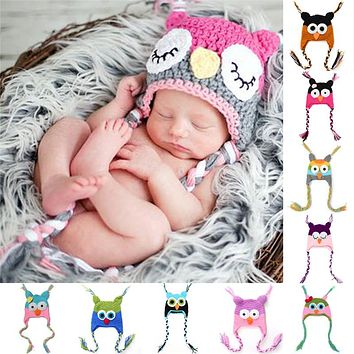 Baby Caps Hat Newborn Photography Props Hats for Girls Crochet Ear Bird Bonnet Children's Hats Handmade Knit Soft