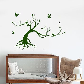 Vinyl Wall Decal Magic Tree Bird Nature Style Children's Room Stickers Unique Gift (1661ig)