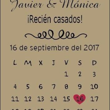 Personalized Save The Date Wedding GiftTag Custom Wedding Tag Rustic Save The Date Wedding Calendar Card Tag Thank You Nini Tag