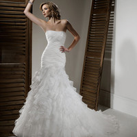 2012 Maggie Sottero Bridal - Ivory Organza Pleated & Ruffled Drop Waist Strapless Nova Wedding Gown - 0 - 28 - Unique Vintage - Cocktail, Evening & Pinup Dresses