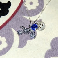 Motocross Dirt bike mortorcycle personalized necklace birthstone number or initial hand stamped charm