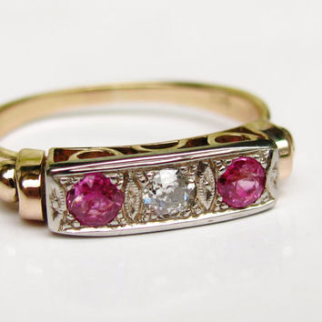Antique Engagement Ring Ruby and European Cut Diamond Wedding Ring Art Deco Engagement Ring 14K Two Tone Gold  Ladies Wedding Band Size 6.5!