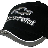 Chevy Chevrolet Fine Embroidered Contrasting Hat Cap, Black/Charcoal