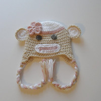 Girl Sock Monkey Hat 0-3 or 3-6 months