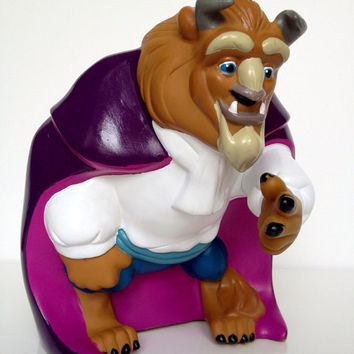 Vintage Disney Beauty and The Beast Coin Bank 1993