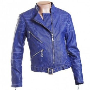 Fun&Fun - Girls Faux Leather Biker Jacket, Blu Cobalto