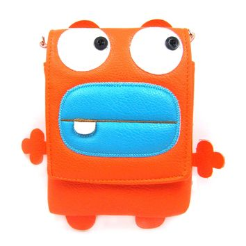 Toothy Monster Small Cross Body Shoulder Bag Purse in Orange