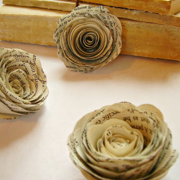 Handmade Paper Roses 25 Book Page Paper Flowers for by BookCraft