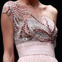 Pink Beaded Chiffon Evening Dress by Svetlana