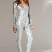 UO Extreme Plunge Sequin Jumpsuit | Urban Outfitters