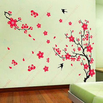Cherry blossom wall decals Kids wall decal flower decals tree decals red decals baby nursery girl wall decor wall art - Cherry Blossom Tree