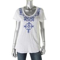 Lucky Brand Womens Juniors Embroidered Short Sleeves Casual Top
