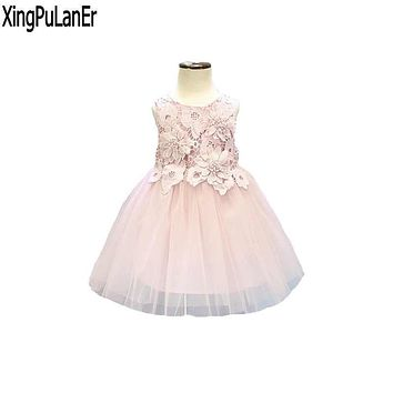 XingPuLanEr Ball Gown Scoop Neck Sleeveless Flower Appliques Princess First Communication Pink Long Cute Flower Girl Dress