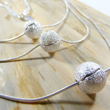 Triple Bean Necklace, 925 silver necklace, 925 silver fashion jewelry