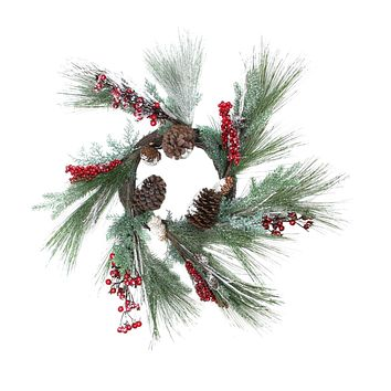 "32"" Festive Red Berries  Pine Cones and Green Pine Sprigs Artificial Christmas Wreath - Unlit"
