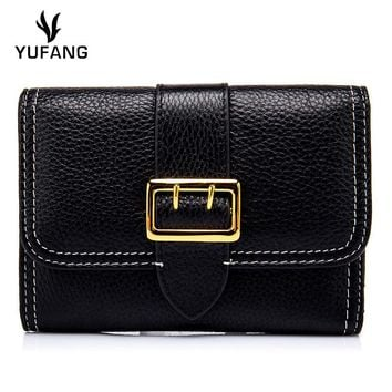 YUFANG Women Wallet Genuine Leather Female Purse Natural Cowhide Money Bag Ladies Large Capacity Card Holder Women Trendy