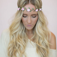 Flower Crown, Wedding Headband, Music Festival Bohemian Hair Band in light pink Bride's Hair for Wedding Headband Stretchy Crown (HB-15)