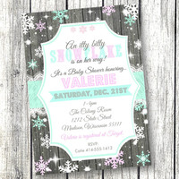 Snowflake Baby Shower Invitation winter A little snowflake printable 5x7 pink purple teal printed invitation holiday baby shower invite