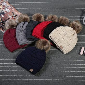 ONETOW 2017 Rushed Special Solid Stretch Cable Knit Slouch Cc Beanie Skully Warm Ski Hat