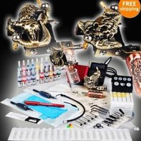 Complete Tattoo Kit Power50 Needles 2 Machine Guns 20 Inks Mgt-15 Tips Grips