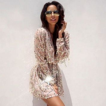 DCCKSP2 Fringed white sequined long-sleeved dress package hip