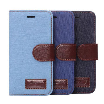 Denim Leather Card Hold Wallet creative cases Cover for iPhone 5S 6 6S Plus Samsung Galaxy S6 Hight Quality