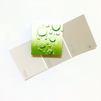 Affordable Miniature Original Kawaii Art Green Bubbles on Ombre Background Painting in Acrylic Magnet