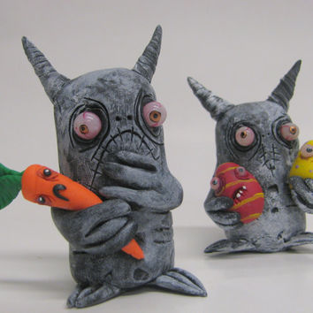 lowbrow clay one of a kind infestation Easter monster ooak art doll sculpture by mealy monster land