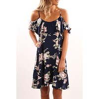 Fashion Flower Print Backless Frills Strapless Short Sleeve Strap Mini Dress