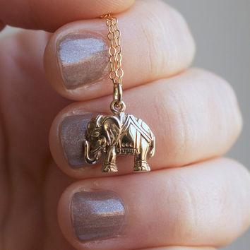 Elephant Necklace - Gold Elephant Pendant . Yoga Jewelry . India Inspired . Gifts for Her