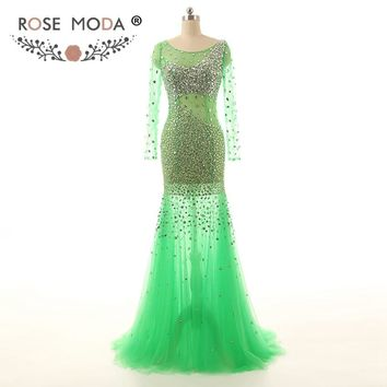 Rose Moda Long Sleeves Green Mermaid Prom Dress Floor Length Bling Crystal Beaded Prom Dresses Sexy Party Dress 2018