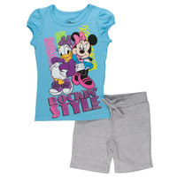 Minnie Mouse - With Daisy Rockin Style Juvy T-Shirt And Shorts Set