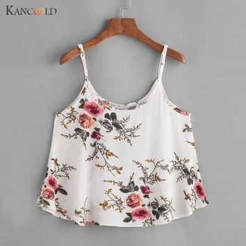 2017 Floral Crop Top For Women Camisole Tank Tops Female Cropped Feminino's tops 2017 Summer Women White Cami Short tops AP263