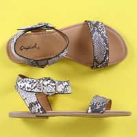 Qupid One Band Ankle Strap Flat Sandal