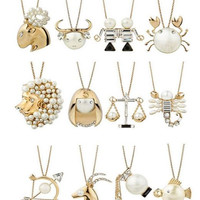 Anime One Piece Zodiac Sign Necklace - Cute - Each Zodiac Sign has an Imitation Pearl Set into it