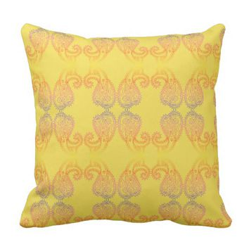 Happy Warm Golden Paisley Pattern Throw Pillow
