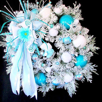 "Winter door wreath, ""Winter Wonderland"", front door wreath, snow wreath, turquoise wreath, let it snow, blue winter wreath, luxury wreaths"