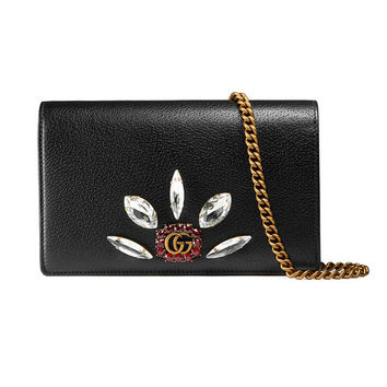 Gucci Leather Mini Chain Bag With Double G And Crystals - Farfetch
