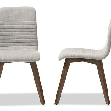Baxton Studio Sugar Mid-century Retro Modern Scandinavian Style Light Grey Fabric Upholstered Walnut Wood Finishing Dining Chair Set of 2