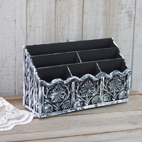 Organizer, Black, White, Cosmetic, Desk, Art, Craft, Hand Painted, Upcycled Vintage, Makeup Caddy
