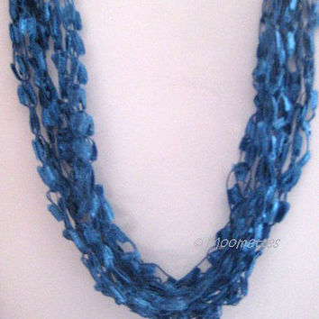 ON SALE Hippie Boho Style Turquoise Teal Blue Crochet Necklace Ice Yarn Ladder Ribbon Necklace Soft Necklace Crocheted Necklace Trendy Jewe