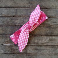 Hot Pink Bandana reversible Hot Pink Gingham Skinny Headband Teen Women Hair Accessory