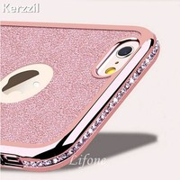 Kerzzil For iPhone 7 6 6S Plus 5s SE 3D Diamond Rug Bumpers Soft TPU Case + Bling Card Cover For iPhone X 6 6S Plus Capa