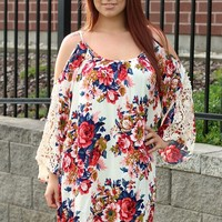 Plus Size Olivia Open Shoulder Crochet Floral Dress/Tunic