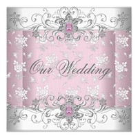 Wedding Pink Silver White Diamond Jewel Lace Custom Announcements from Zazzle.com