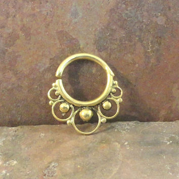 14 Gauge Brass Septum Ring Hoop Bull Ring Nose Piercing
