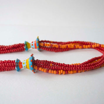 Red Necklace, Multi-Strand Necklace, Seed Bead Necklace, Lampwork Glass Necklace, Colorful Necklace, Long Necklace