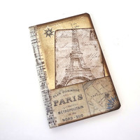 Paris Travel Journal, Paris Notebook or Sketchbook, Eiffel Tower Journal, Paris Map Journal, Mini French Journal, Collage Diary