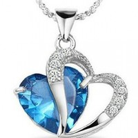 KATGI Fashion Blue Austrian Crystals Heart Shape Pendant Necklace (Light Blue)