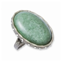 TRU Pewter Green Aventurine with Swarovski Crystals Ring